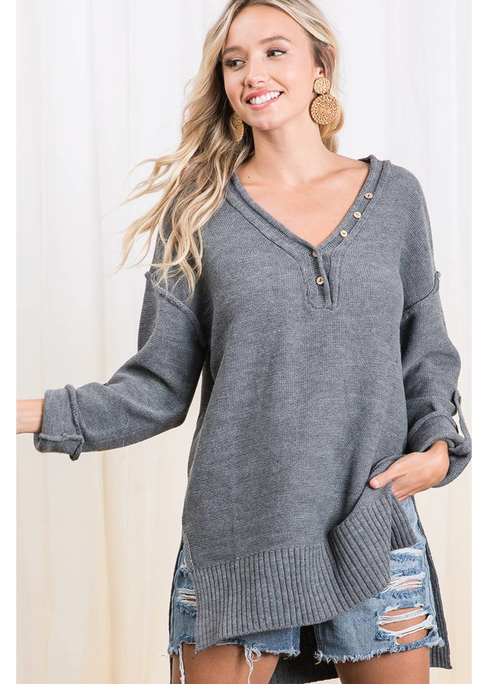 Ces Femme Roll-up Sleeve light weight sweater-charcoal