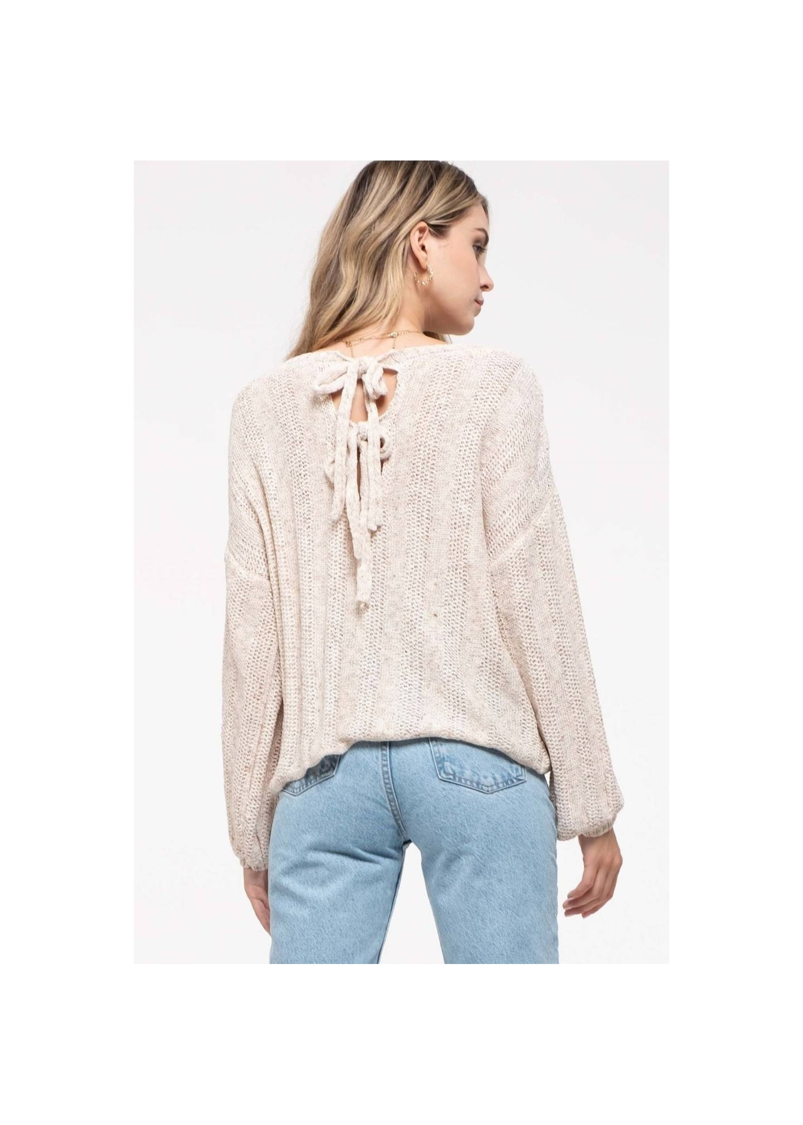 Blu Pepper Knit Texture Sweater-Oatmeal