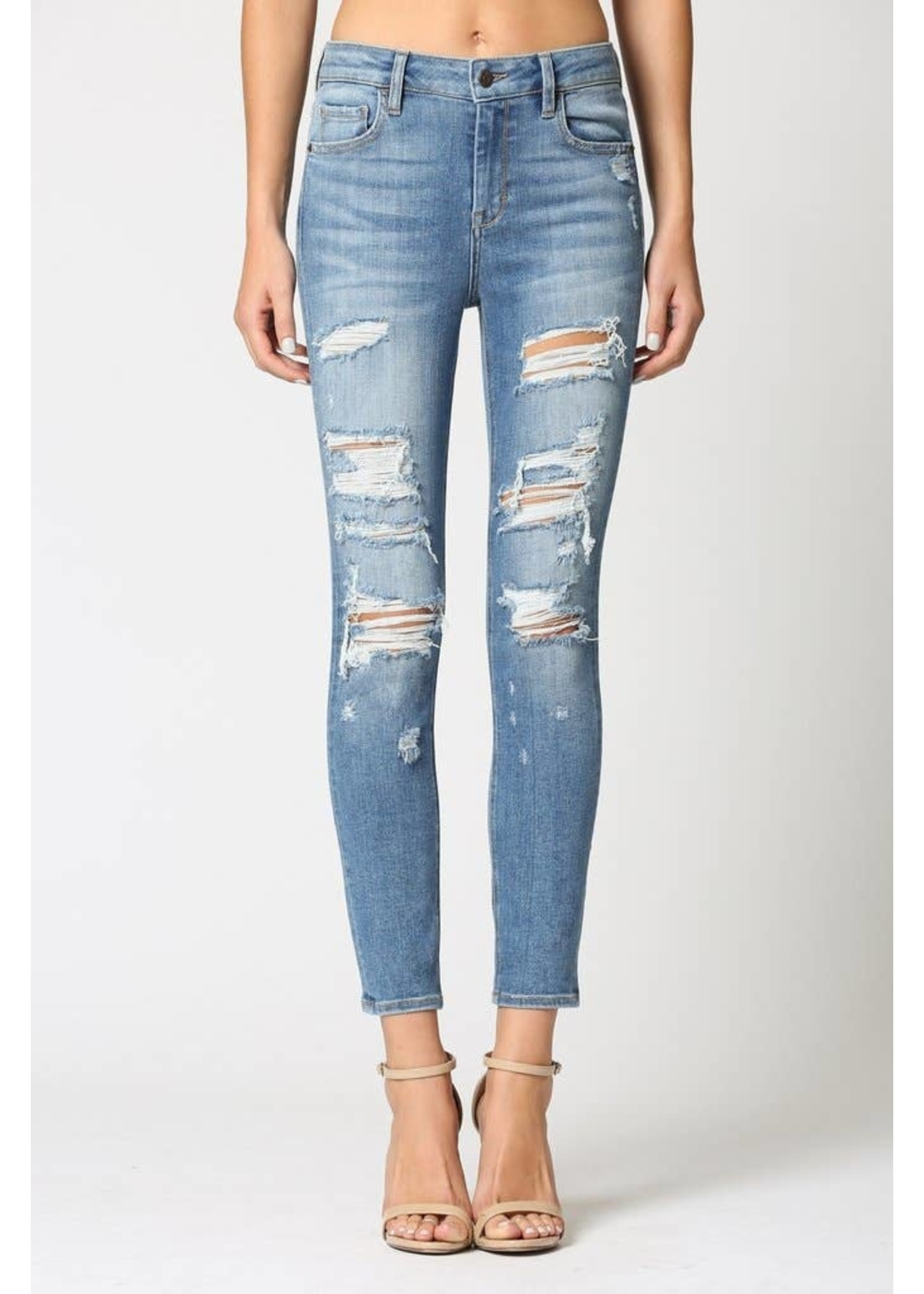 Hidden Jean Amelia-distressed skinny jeans-medium wash