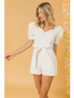 Flying Tomato Denim Romper-white