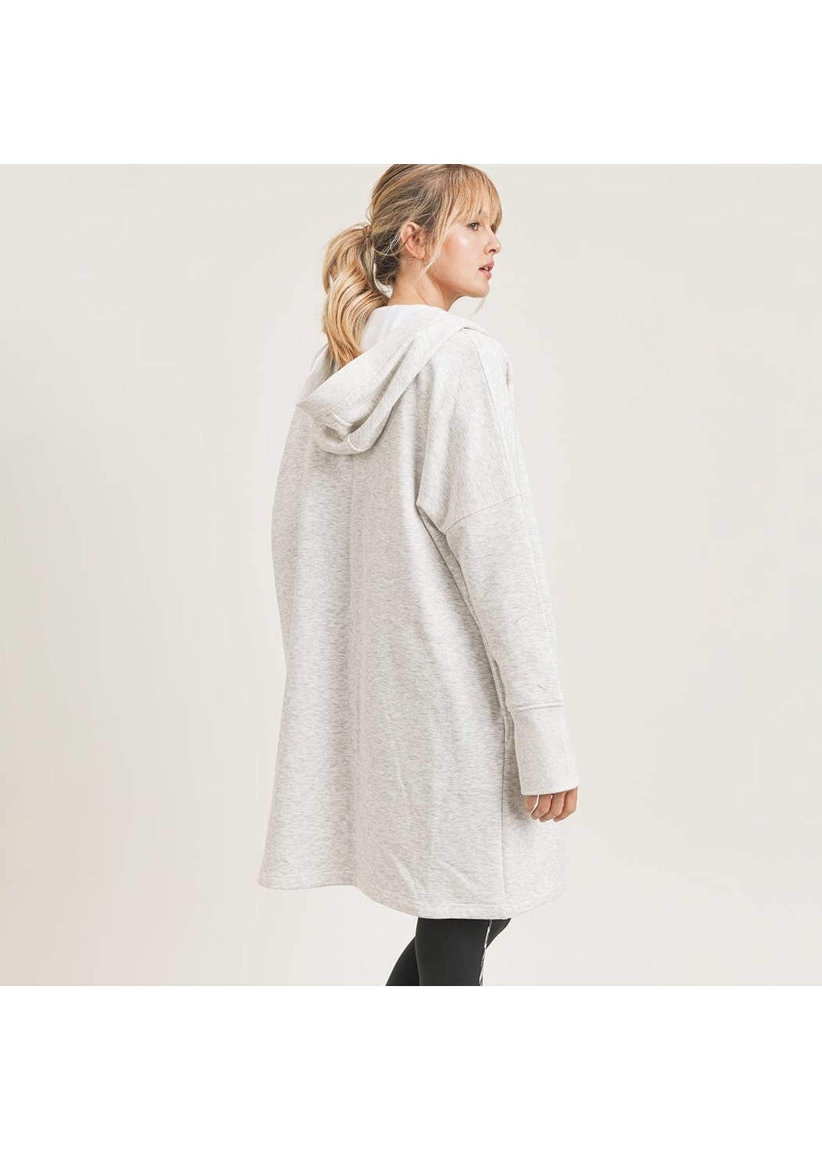 Mono B Open Front Longline Hoodie Cardigan with Fleece Lining