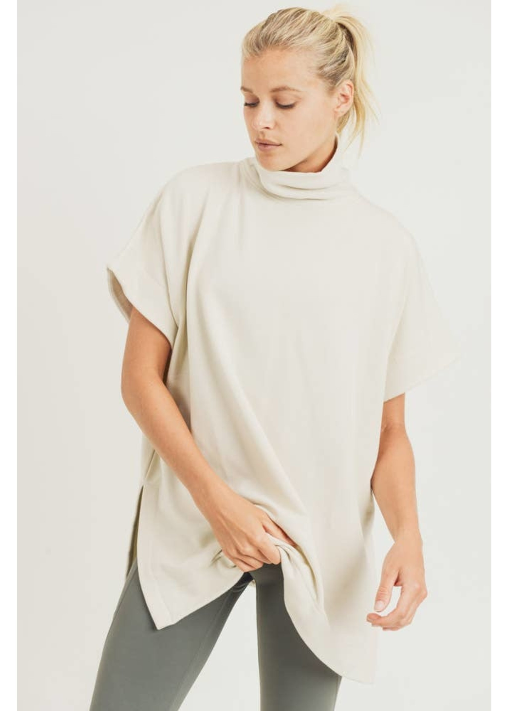 Mono B Turtleneck Pullover with Notched Sides