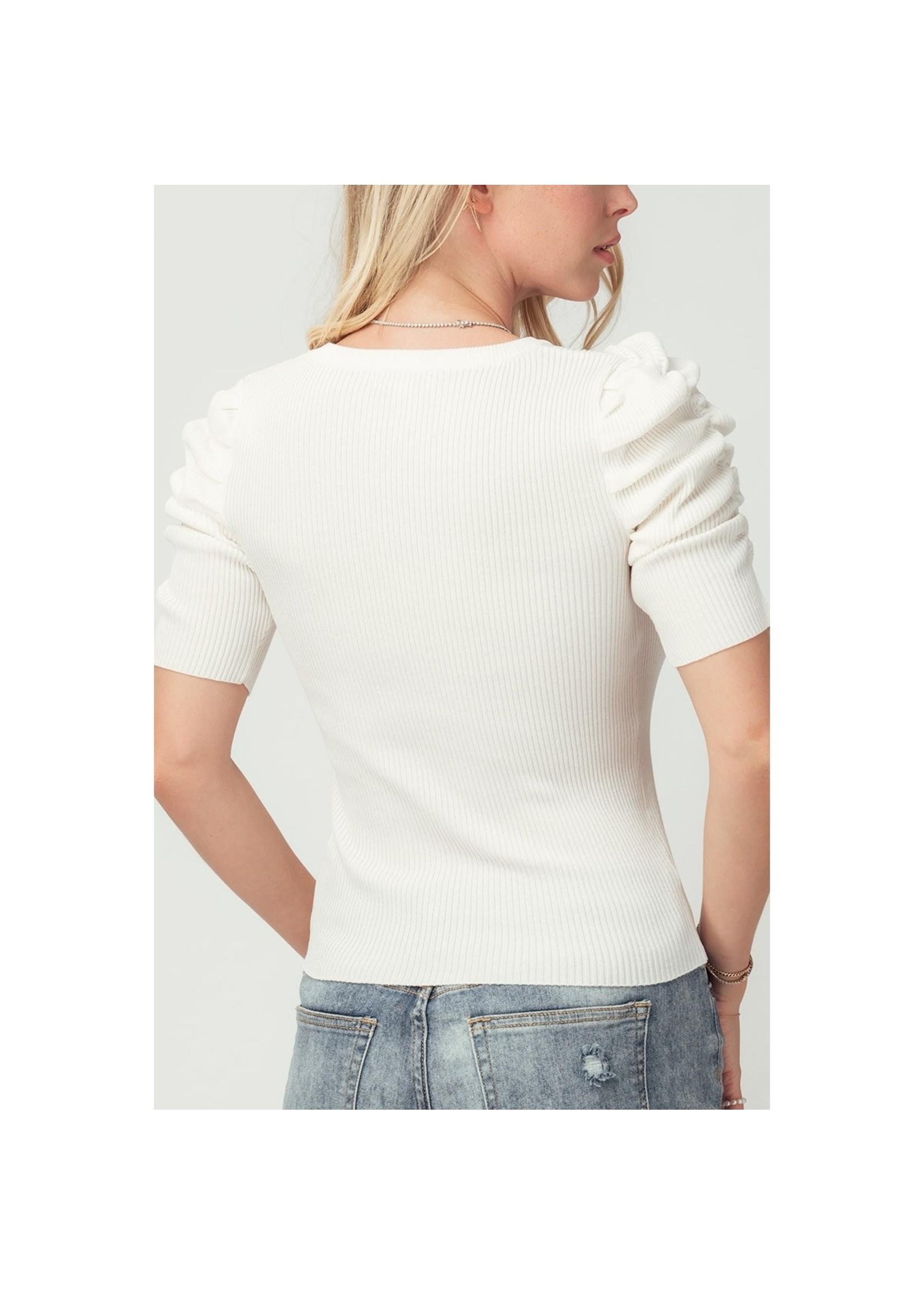 Urban Daizy Rib Knit Puff Sleeve Top-white