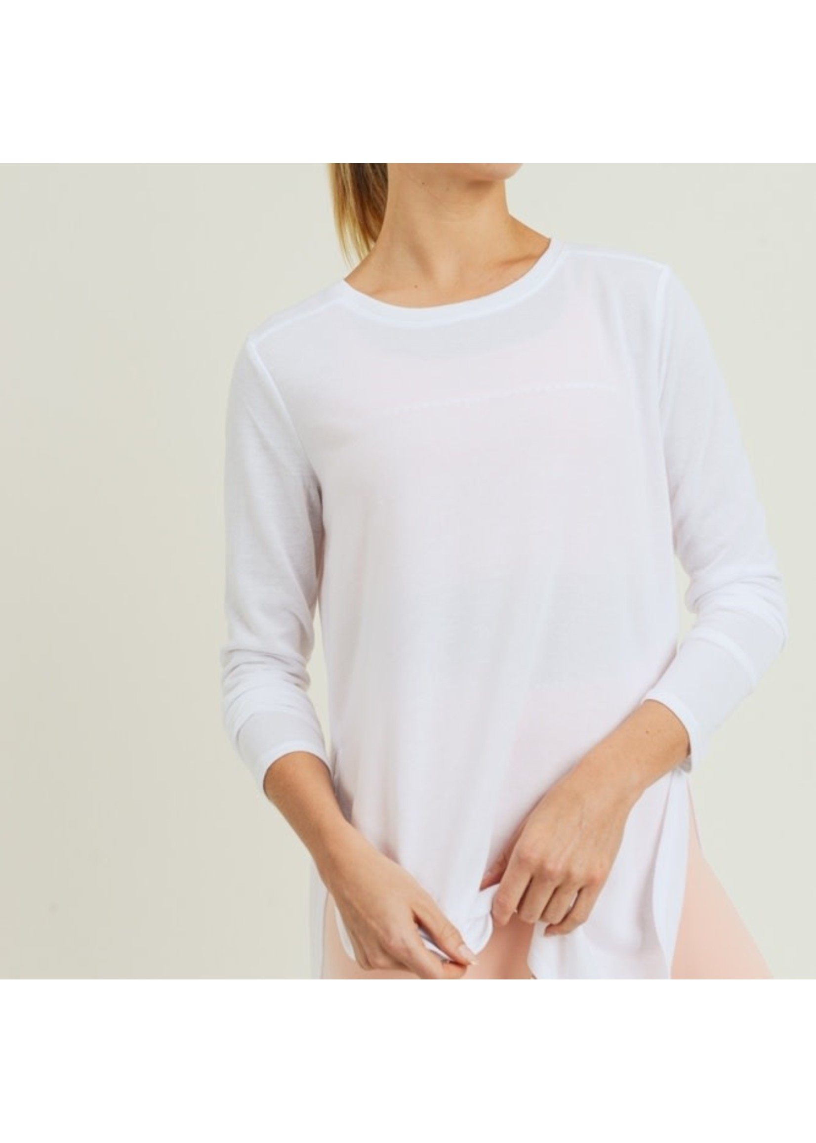 Mono B Long Sleeve Flow Top with Slits