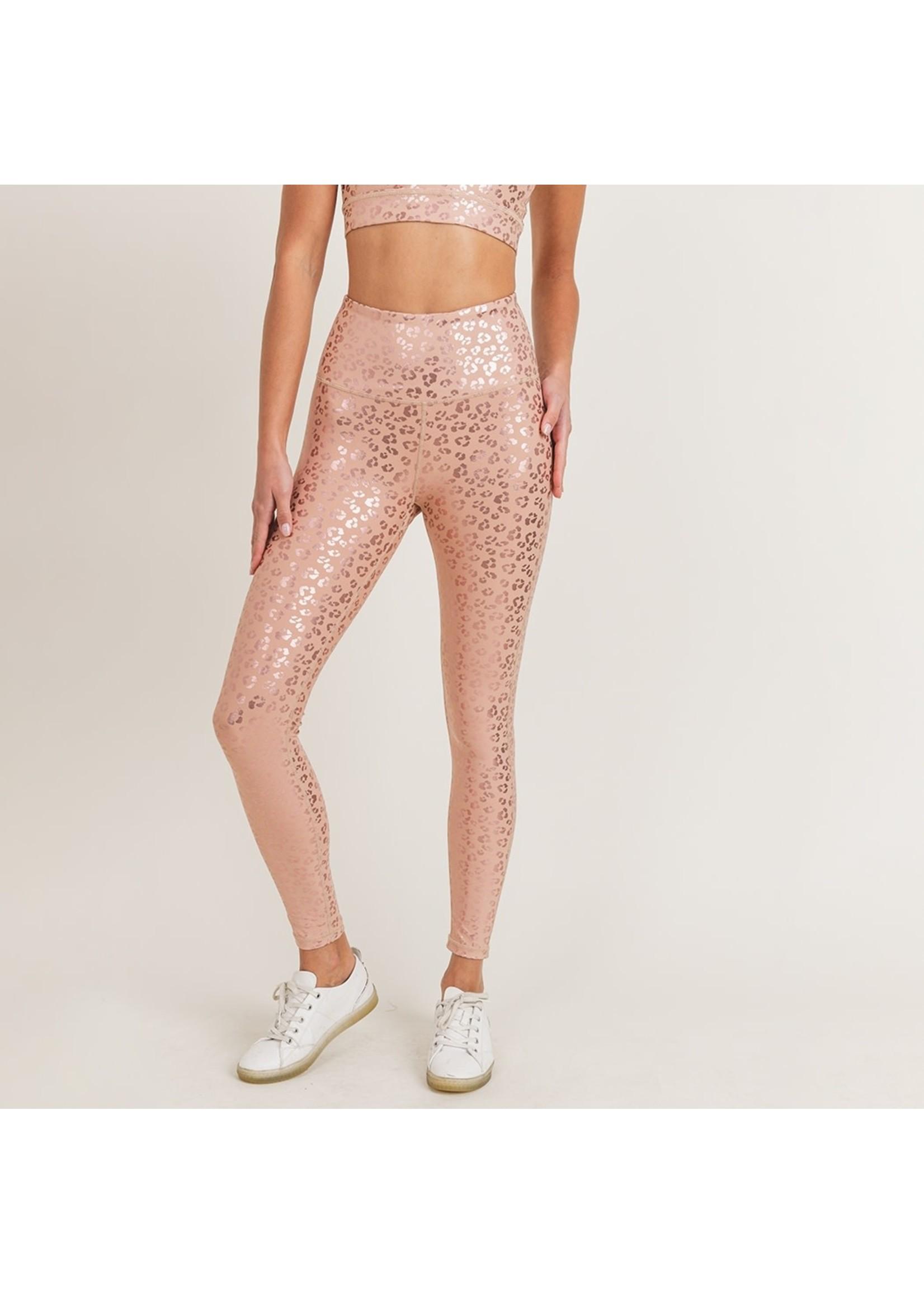 Mono B Pink Leopard Shimmer Foil Leggings