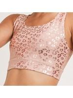 Mono B Pink Leopard Shimmer Foil Sports Bra