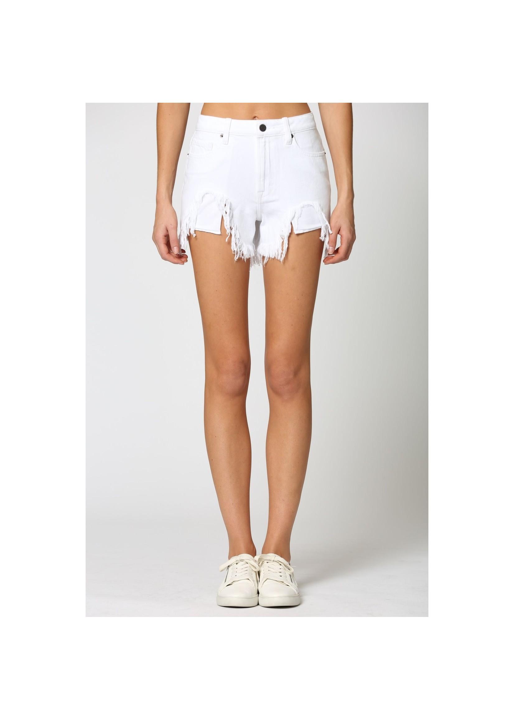 Hidden Jean White Denim Distressed Mom Shorts