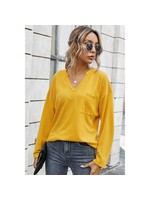 esley Mustard Notched Neckline Long Sleeve Top