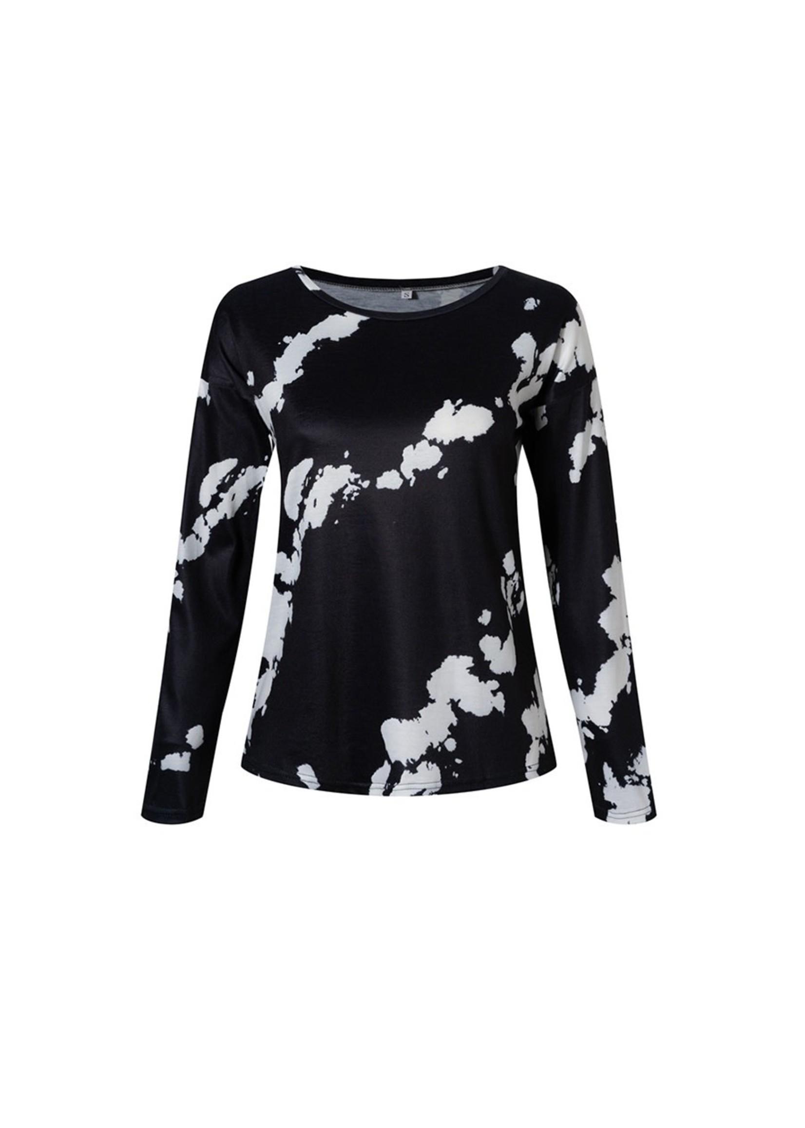 esley Comfy Round Neckline Long Sleeve Top-black