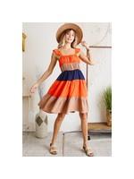 Ces Femme Color Blocked Midi Dress  -Ruffle shoulder strap