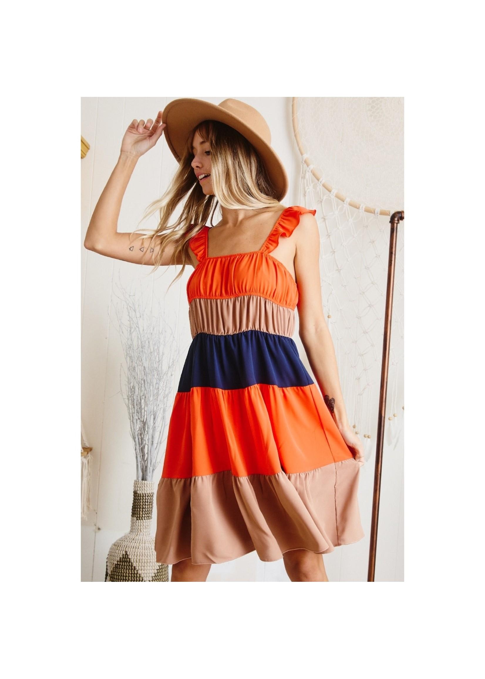 Ces Femme Color-blocked woven midi dress  -Ruffle shoulder strap