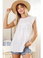 Ces Femme Eyelet lace solid fabric -Sleeveless -Crew neckline