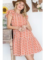 BUCKETLIST Embroidered Ruffled Mini Dress