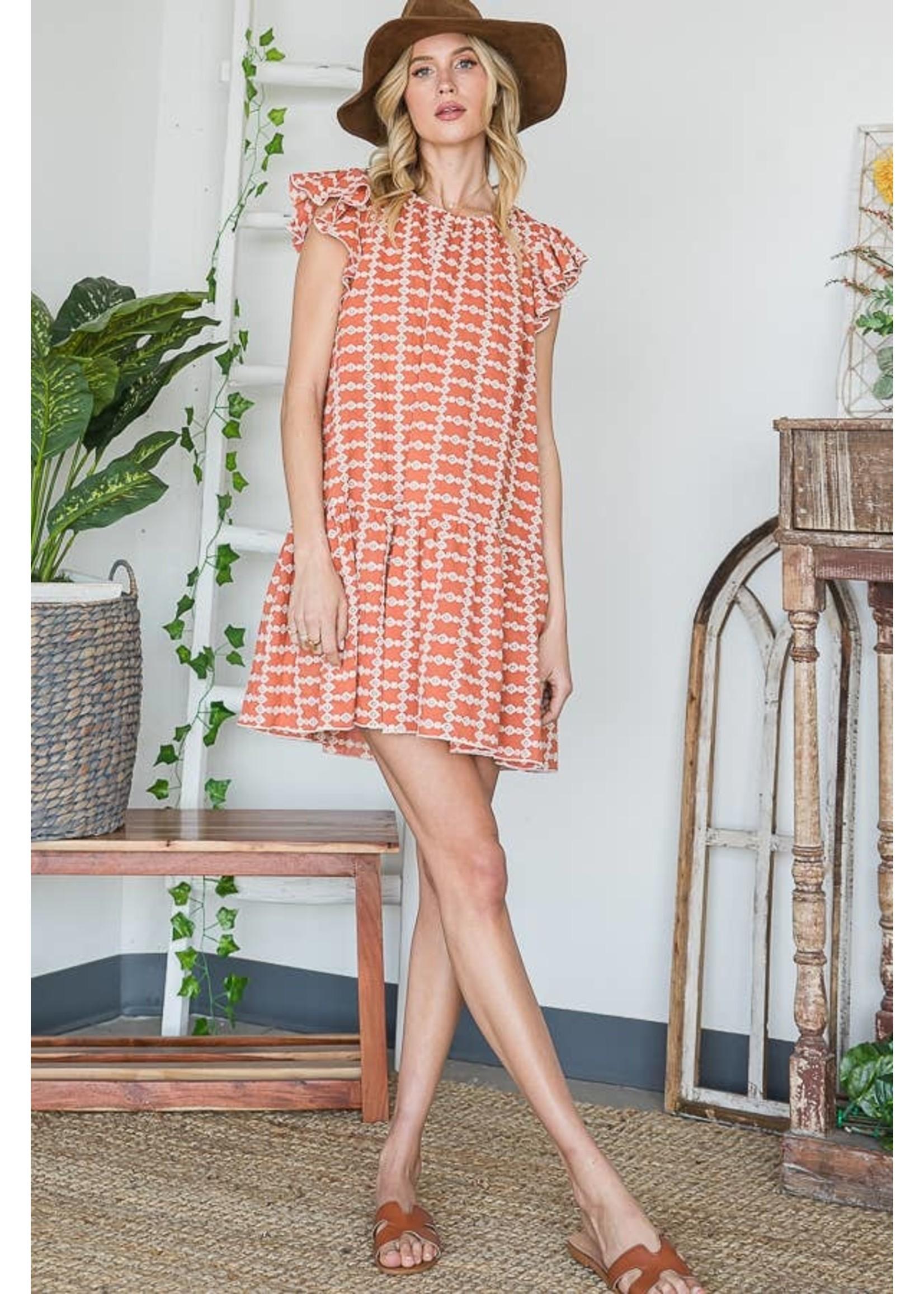 BUCKETLIST Embroidered Ruffled Mini Dress -