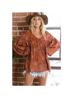 BUCKETLIST Floral Print Women's Puff Sleeves -rust