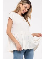 Blu Pepper TIERED SHORT SLEEVE TOP | IVORY