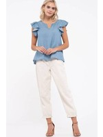 Blu Pepper Ruffle short sleeve Chambray-blouse