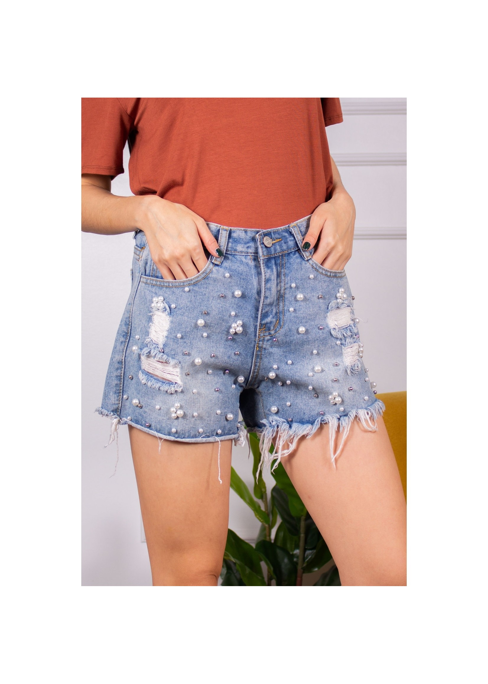 Before You Collection Denim Shorts with pearl