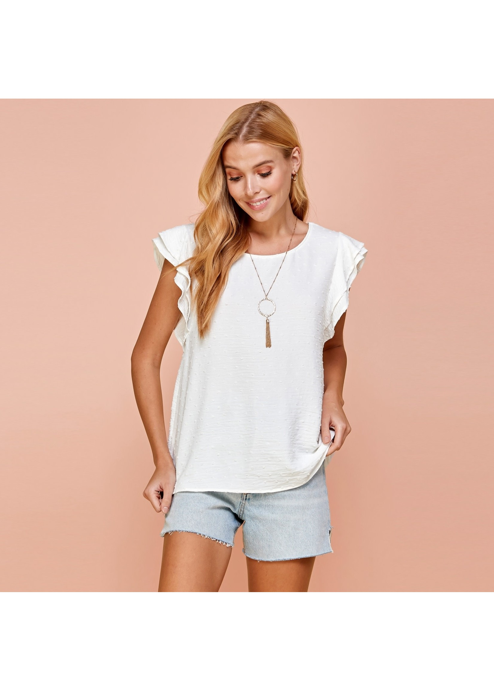 Les Amis Ruffle Sleeve Top with Dot Details