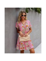 epretty Pink patterned mini dress