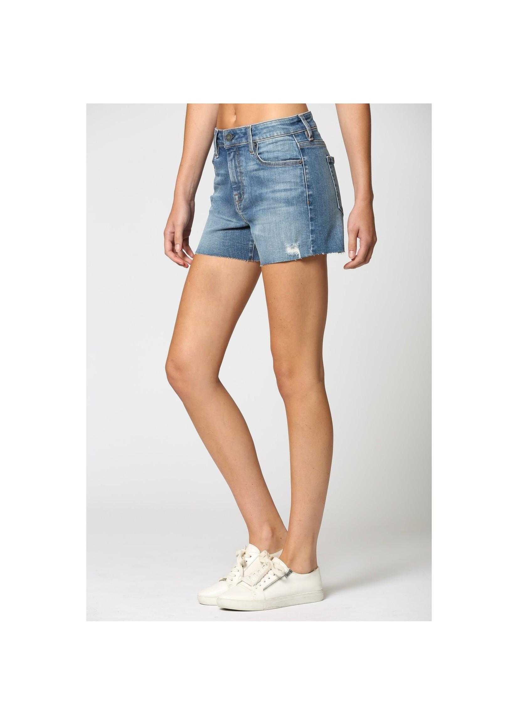 Hidden Jean Medium Wash Raw Hem Stretch Shorts