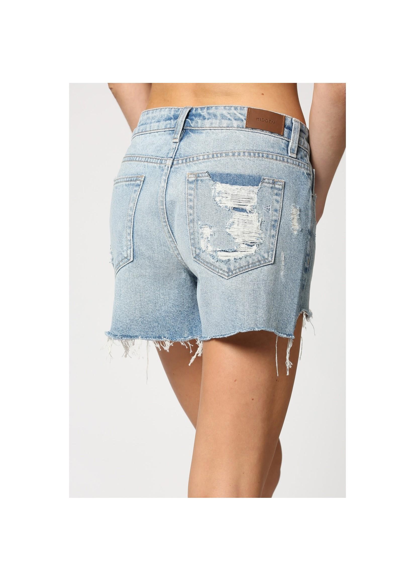 Hidden Jean Light Wash Step Hem Mom Shorts