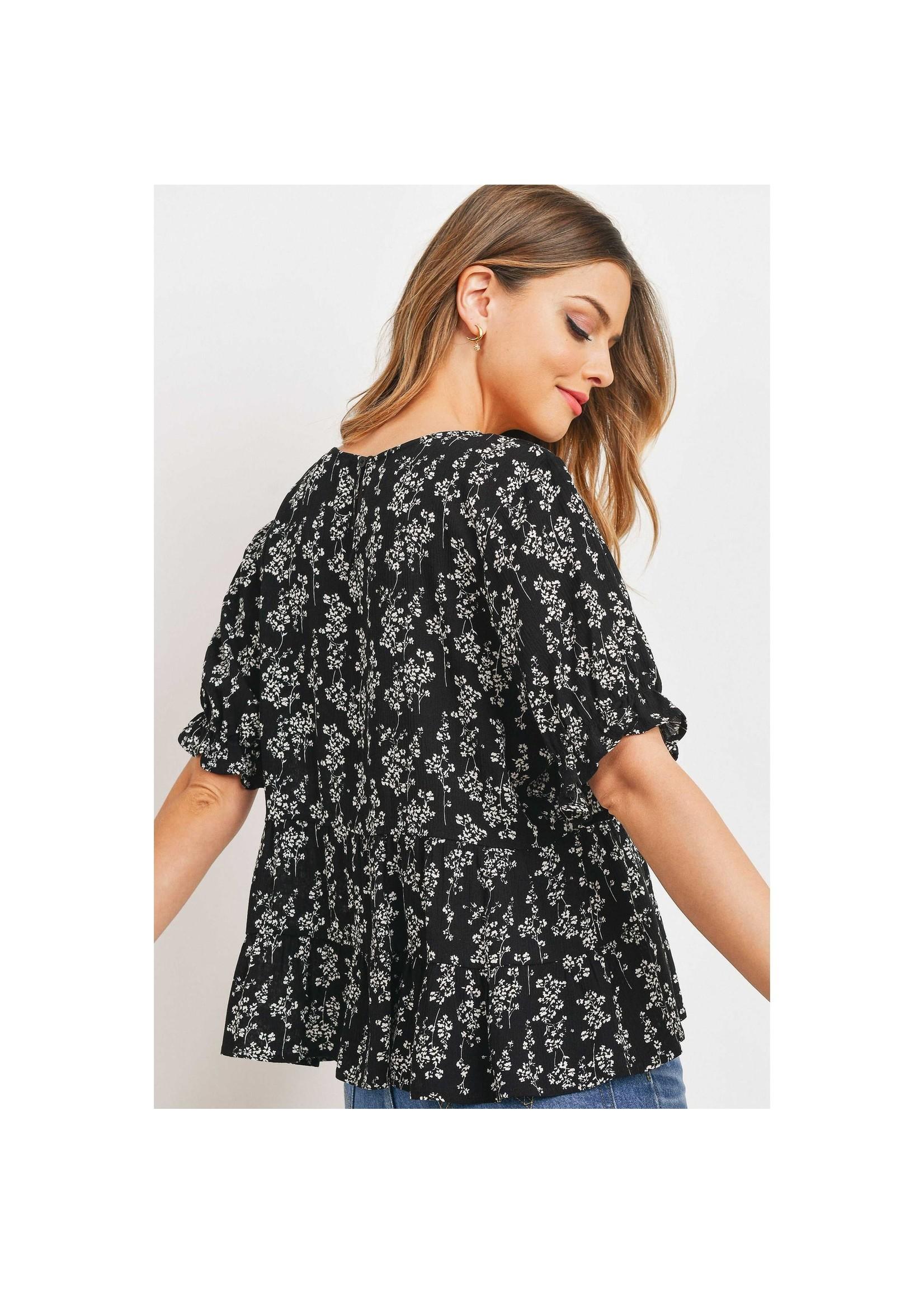 Paper Crane Black Floral Babydoll Top