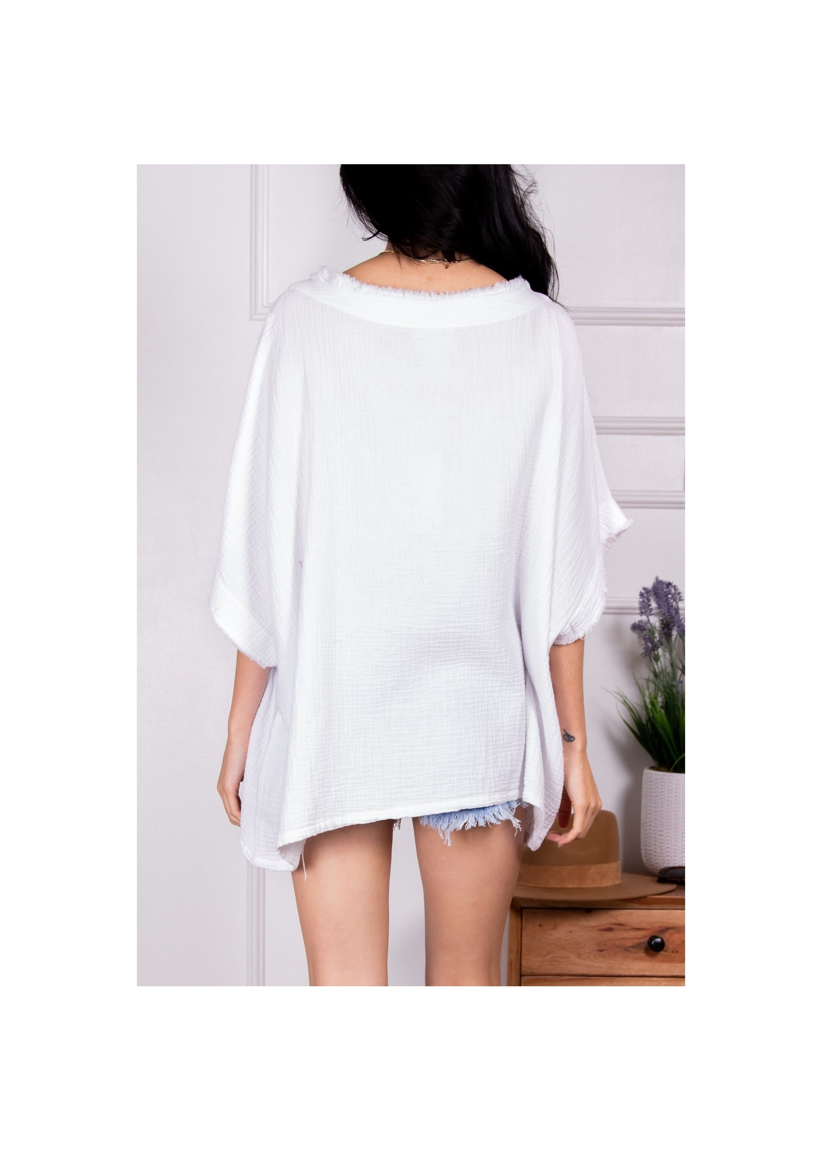 Before You Collection White Poncho Top