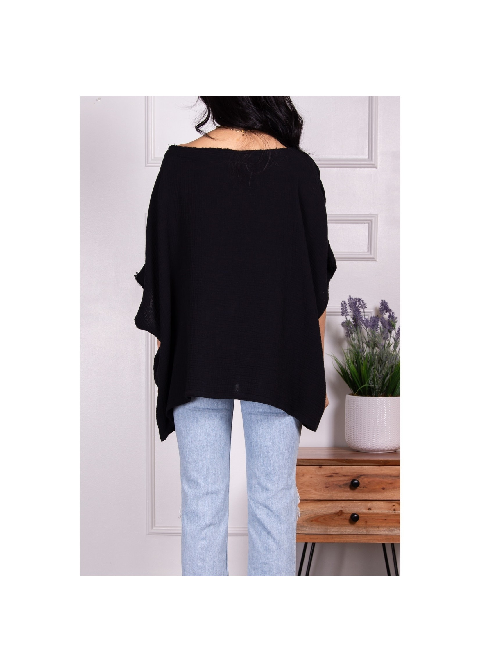 Before You Collection Black Poncho Top