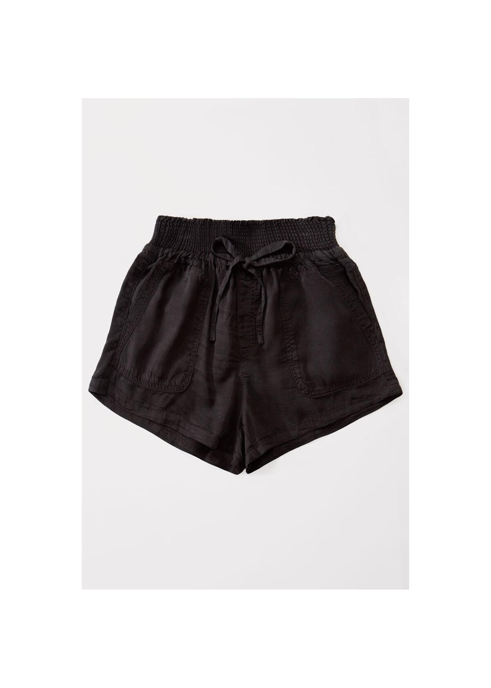 Urban Daizy Black Denim Smock Waisted Shorts