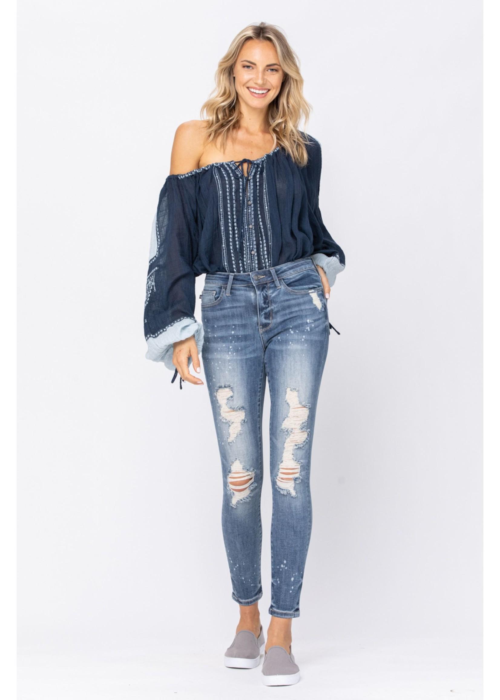 Judy Blue Mid Rise Skinny Bleach Splatter Destroyed Jeans