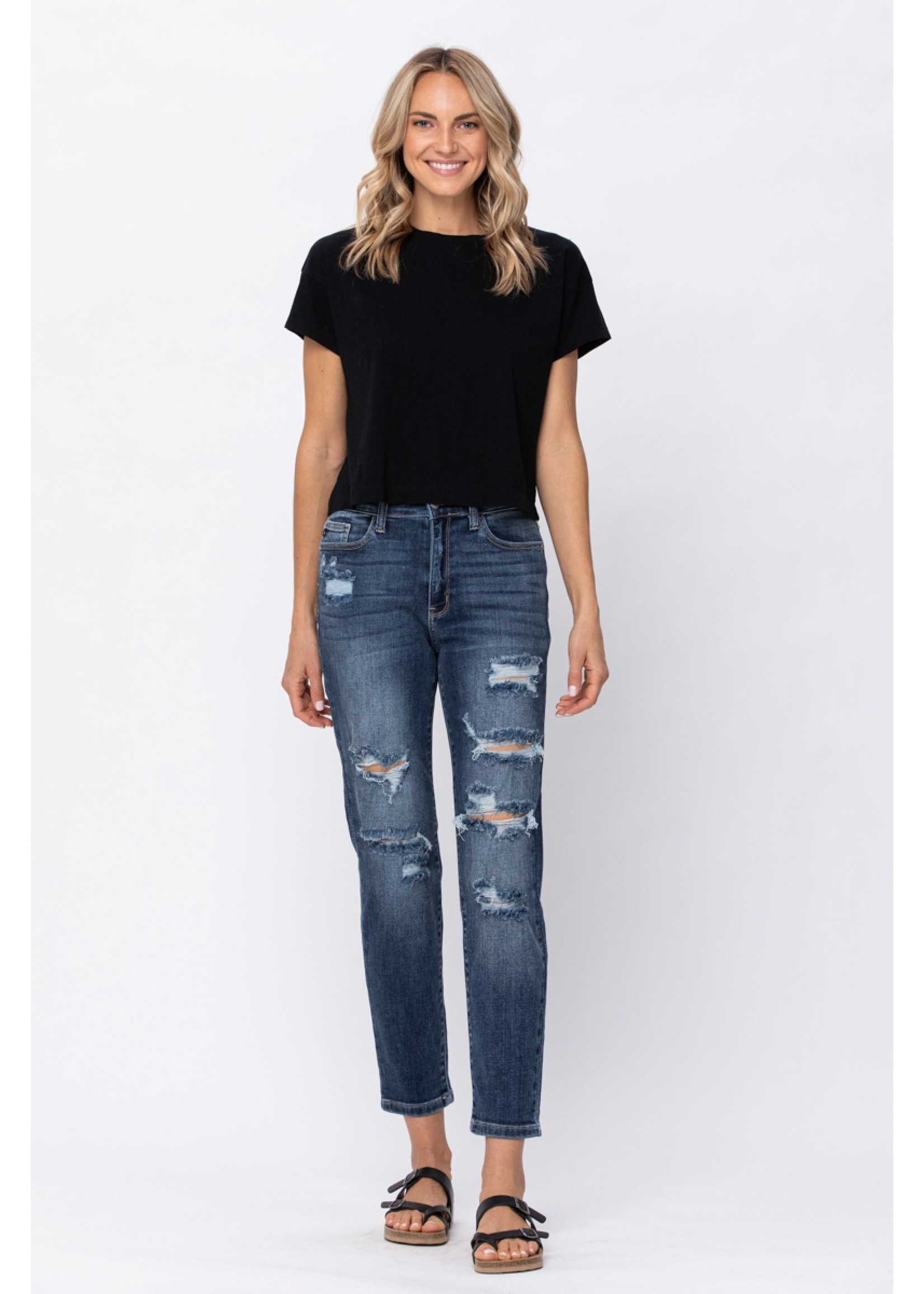 Judy Blue High Rise Distressed Boyfriend Jeans