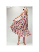 Urban Daizy Striped Ruffle Tiered Midi Dress