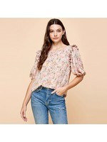 Les Amis Floral Top With Ruffled Sleeves