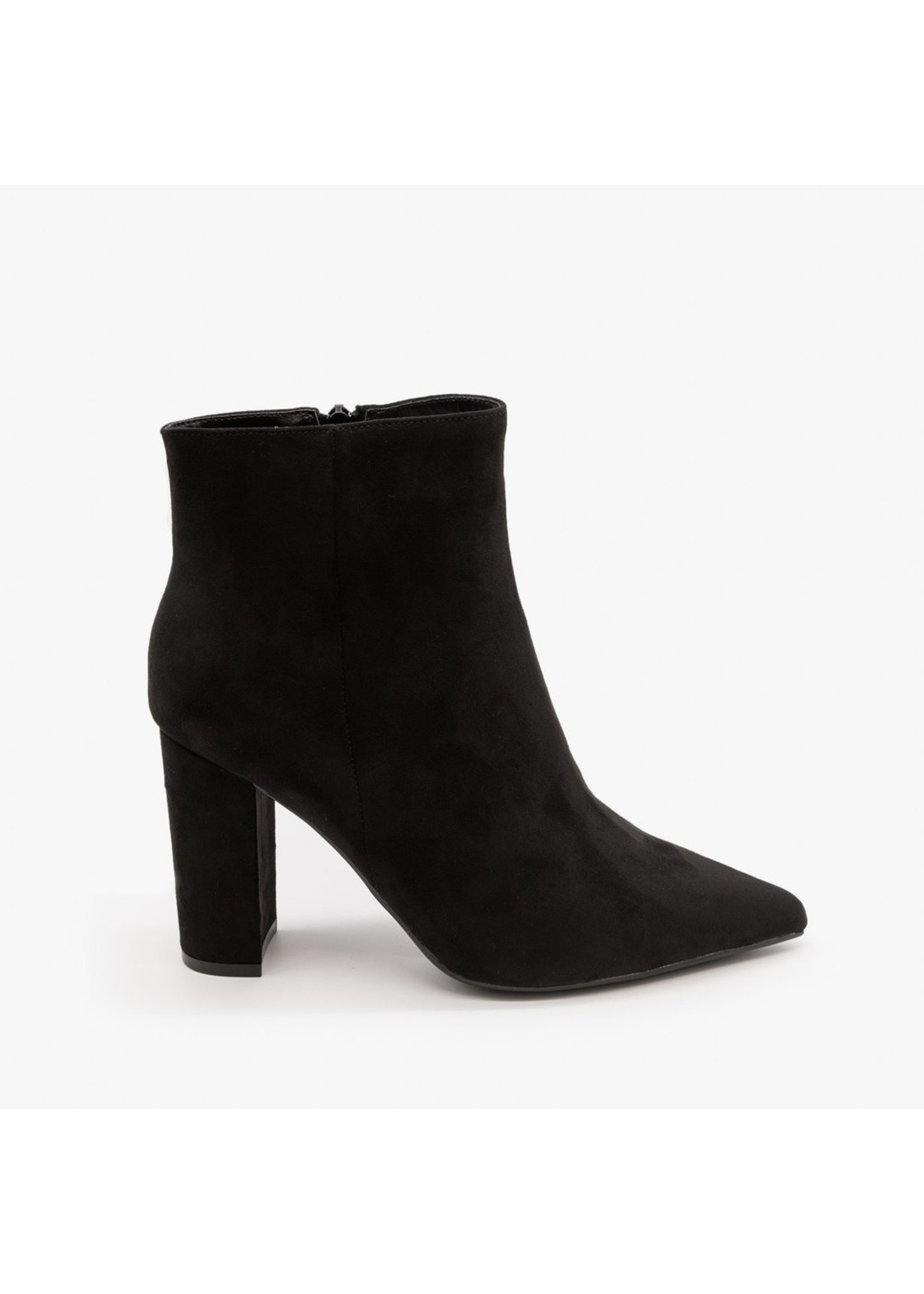 Black Suede Pointy Bootie