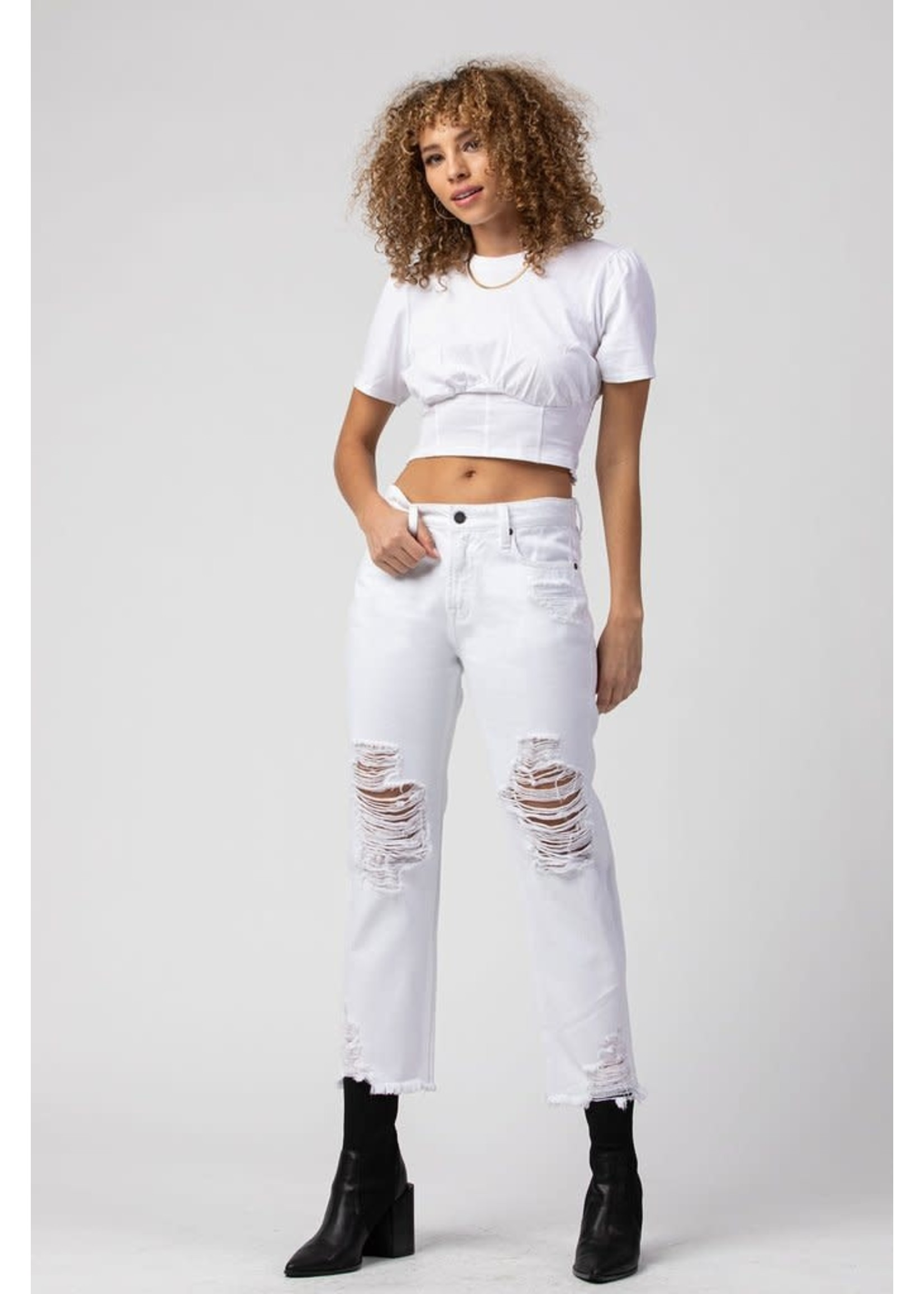 Hidden Jean White High Rise Distressed Boyfriend Jeans