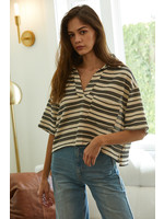 Knit Hacci Striped Oversized Crop Top