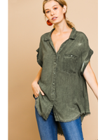 Army Green Button Up Top With Frayed Hemline