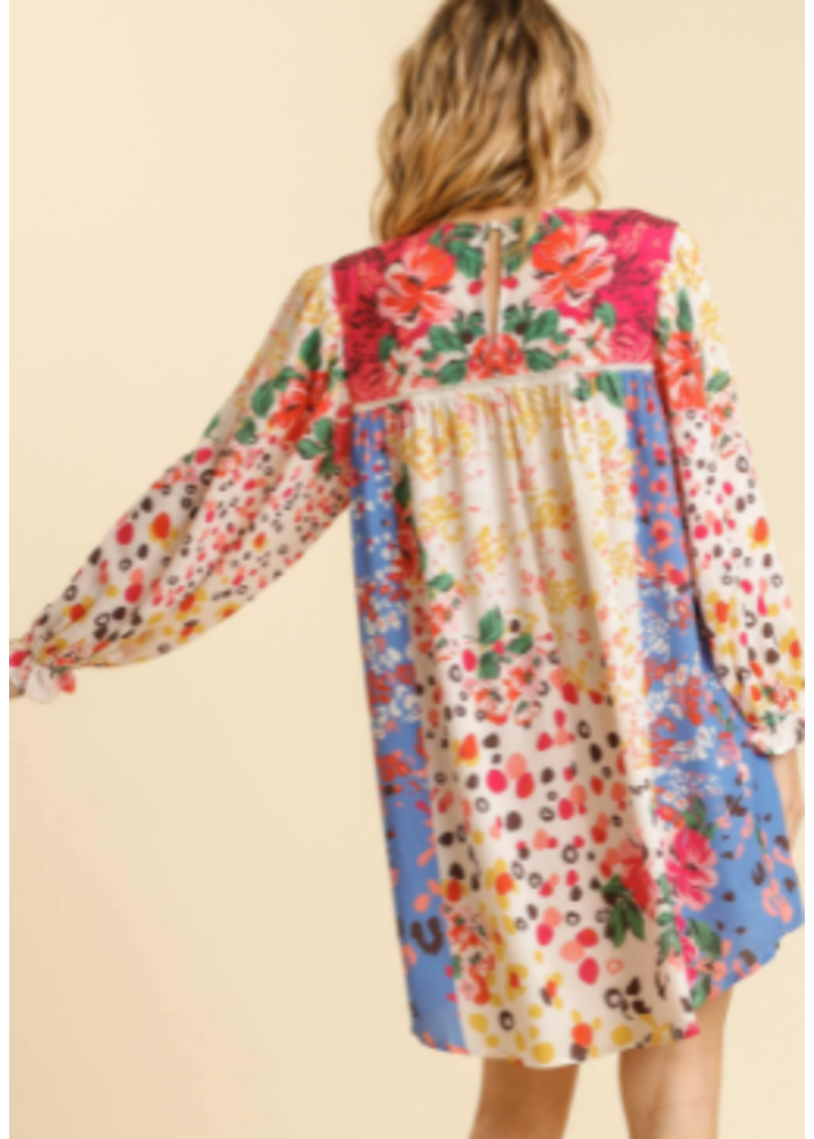 Mixed Print Dress With Ruffle Sleeves