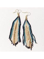 Ink + Alloy Ivory Navy Blue Ombre Gold Fringe Earrings