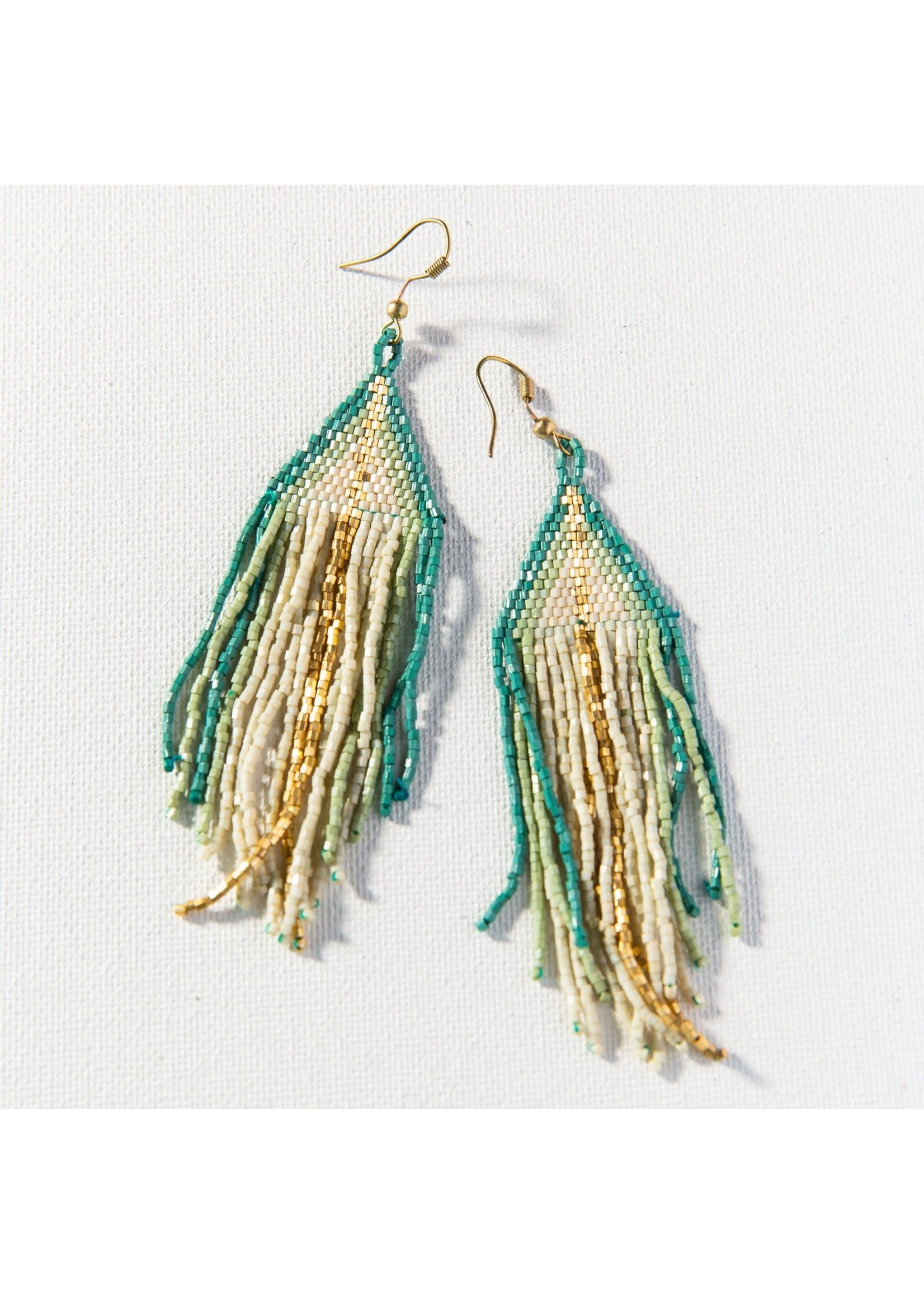 Ink + Alloy Ivory, Teal, Mint, Gold Ombre Fringe Earrings