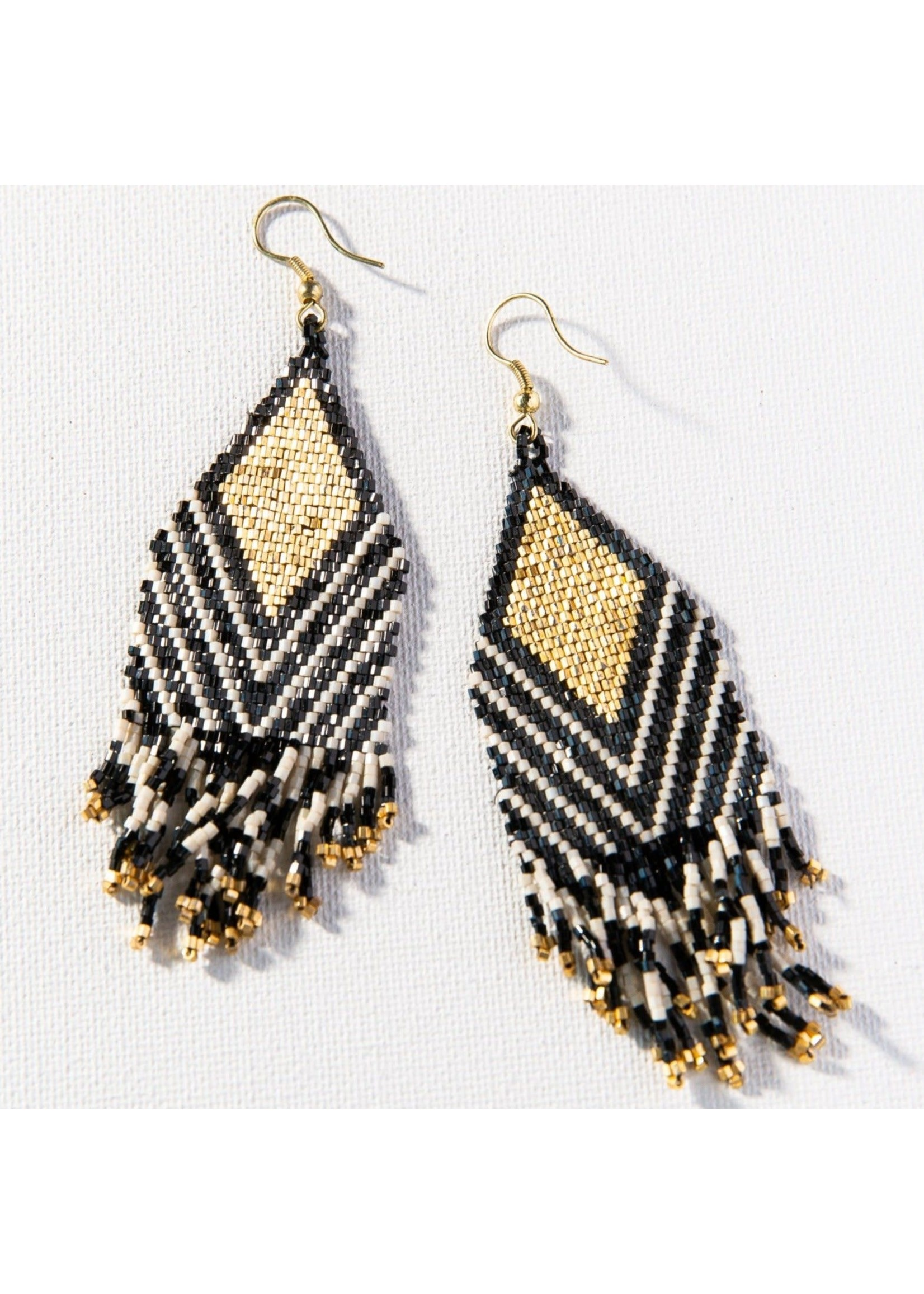 Ink + Alloy Black Ivory Stripe Luxe Earring With Fringe