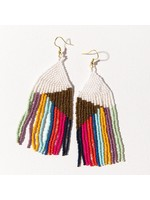 Ink + Alloy Gold White With Bright Stripes Fringe Earring