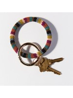 Ink + Alloy Muted Stripe Seed Bead Key Ring