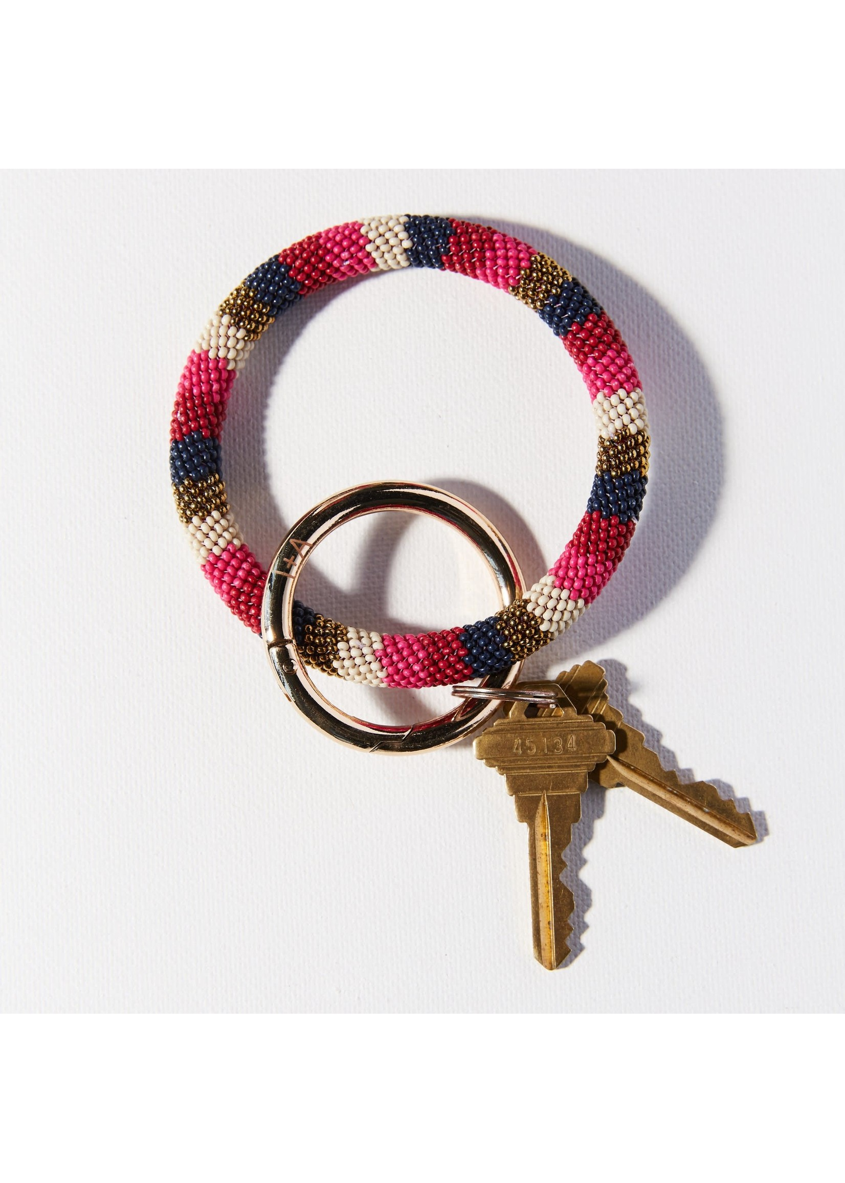 Ink + Alloy Hot Pink Navy Gold Stripe Seed Bead Key Ring