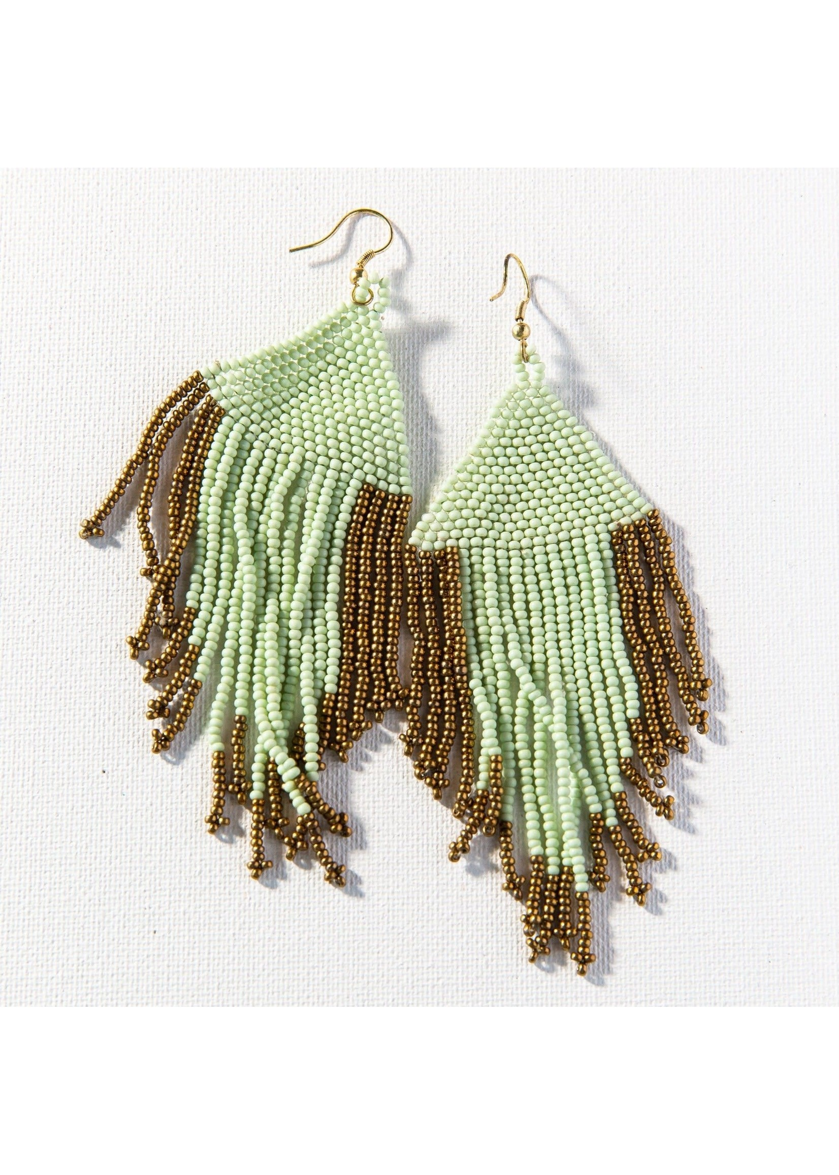 Ink + Alloy Mint And Gold Fringe Seed Bead Earrings