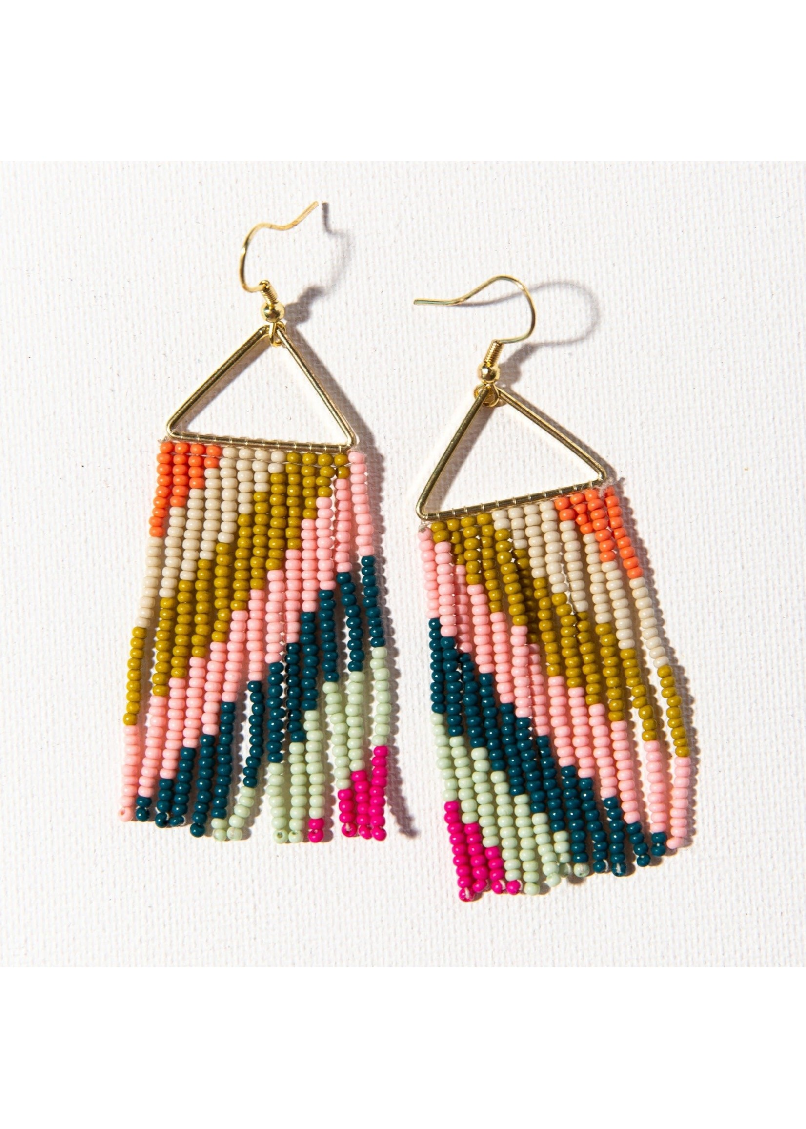 Ink + Alloy Pink Citron Peacock Diagonal Stripe On Triangle Earring