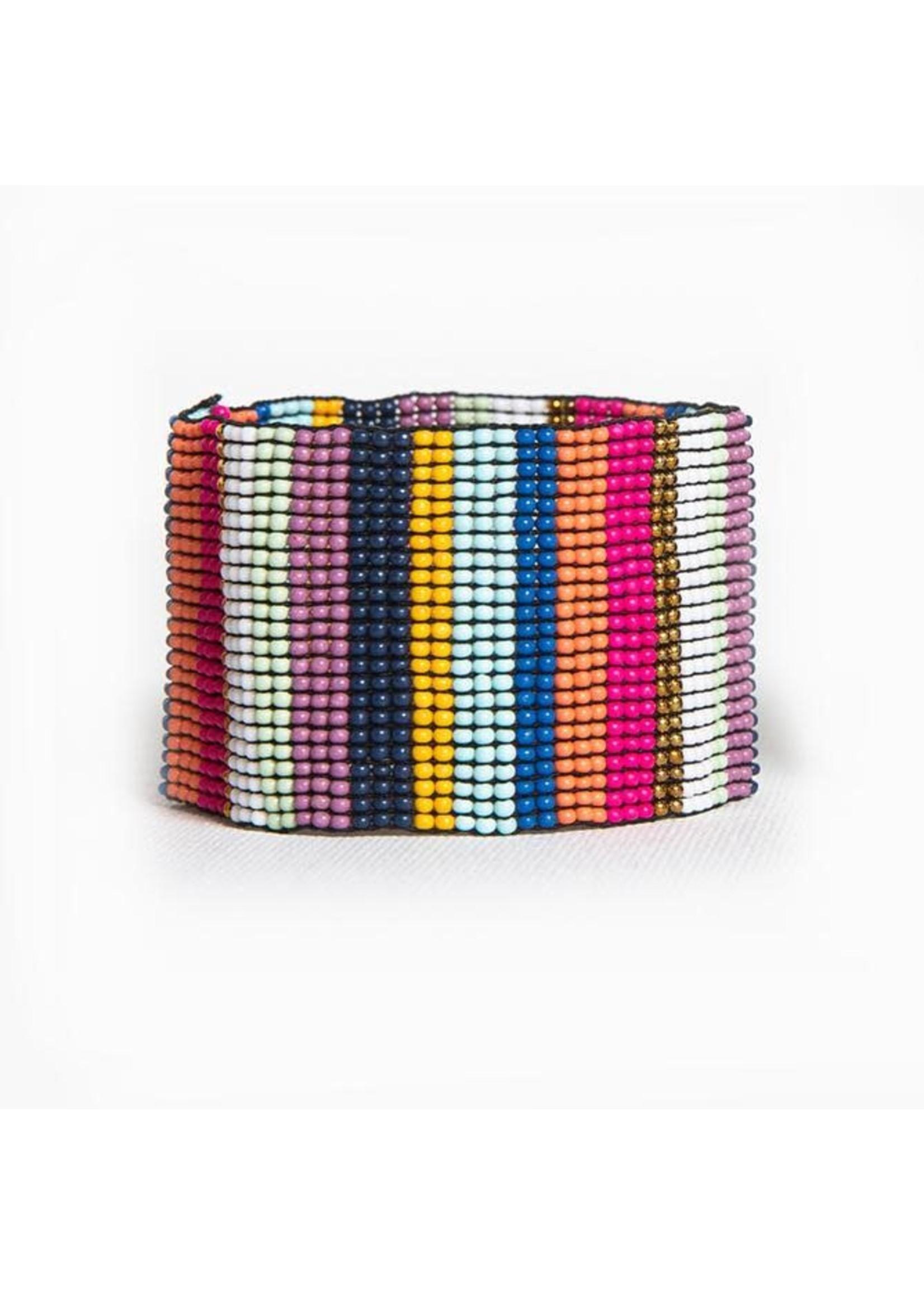 Ink + Alloy Multi Color Stripe Wide Stretch Bracelet