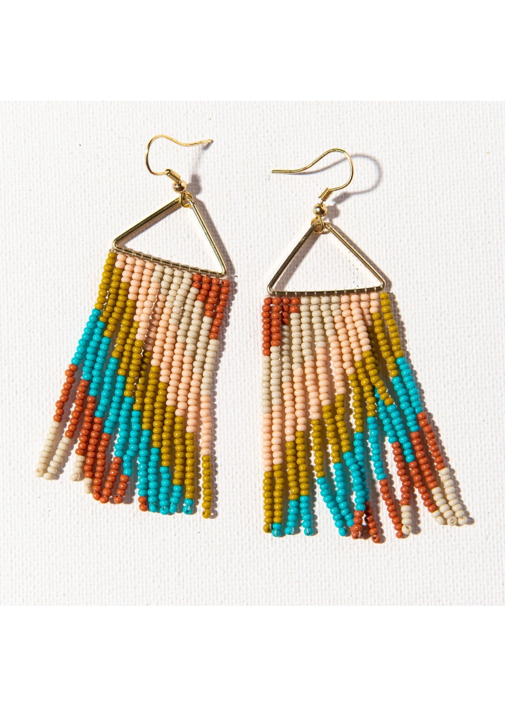 Ink + Alloy Rust Turquoise Pink Diagonal Stripe On Triangle Earring