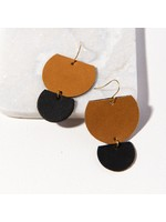 Ink + Alloy Camel And Black Half Circles Leather Earring